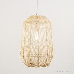 Landelijke hanglamp hout met wit