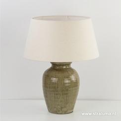 Olijfkleurige vaaslamp-lampvoet steen (zonder kap)