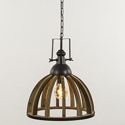Landelijk industriele hanglamp hout/zink
