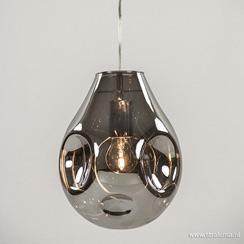 Glazen hanglamp smoke met chroom