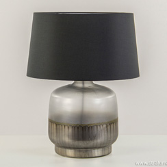 Lampvoet mat glas met zilver groot (zonder kap)