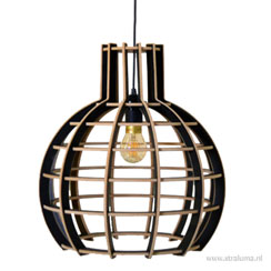 11280012 | Grote hanglamp Globe hout/zwart 70cm