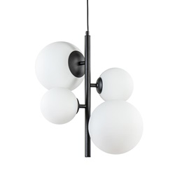 Moderne retro hanglamp zwart met witte bollen