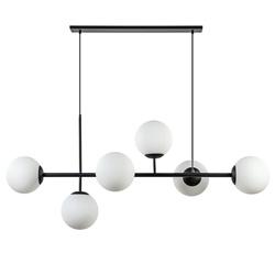 Retro eettafel hanglamp zwart met witte glazen bollen