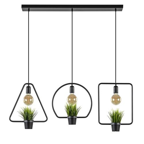 3-Lichts hanglamp diverse vormen met plantjes