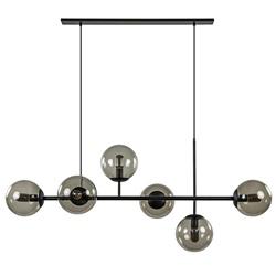 6-Lichts retro eettafelhanglamp zwart met smoke glas