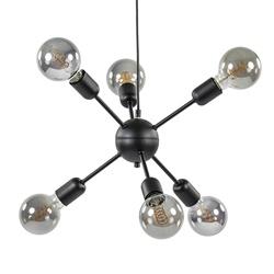 6-Lichts hanglamp zwart exclusief lichtbron