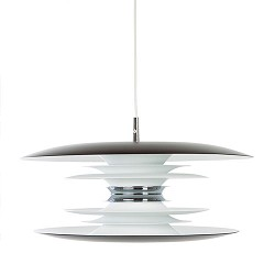 *Design hanglamp wit/zwart/chroom tafel