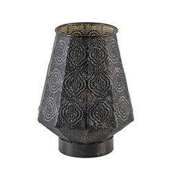 Oosterse tafellamp donker bruin metaal klein