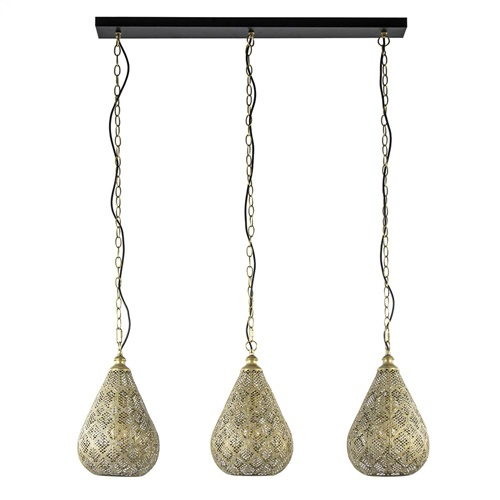 Oosterse 3-lichts hanglamp mat goud met zwart