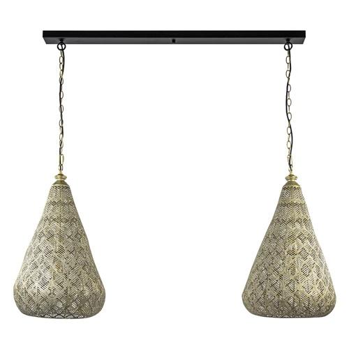 2-Lichts eettafelhanglamp mat goud/zwart oriental