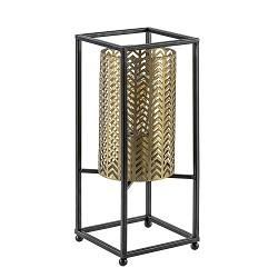 Vierkante tafellamp zwart frame met gouden kap
