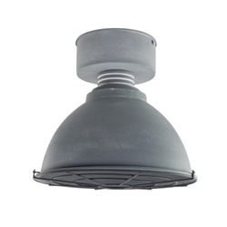 Industriele plafondlamp betonlook grill