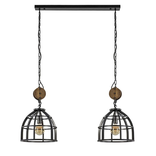 Hanglamp 2L Matrix korf/hout katrol industrieel