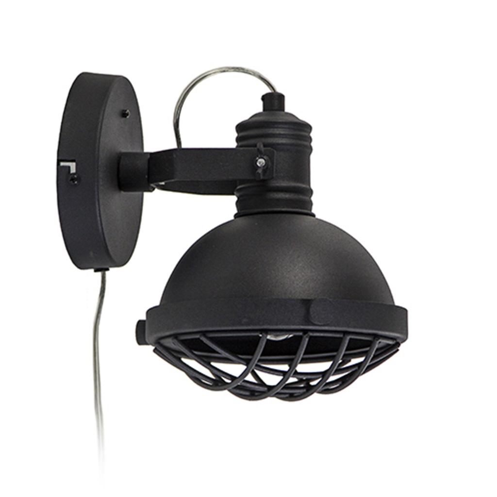 Zwarte wandlamp industrieel met grill