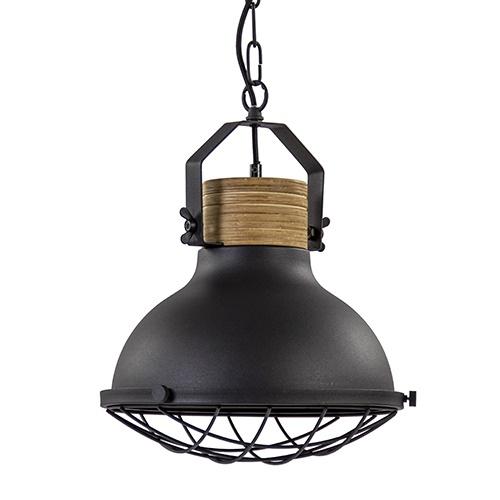Industriële hanglamp Emma zwart met hout