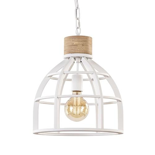 Witte hanglamp Matrix met houten klos landelijk