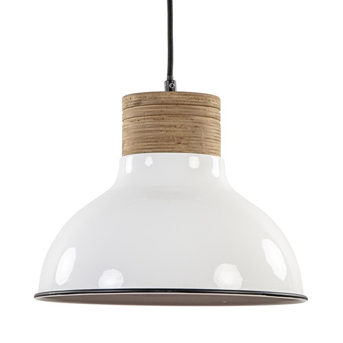 Wit metalen hanglamp landelijk met houten klos