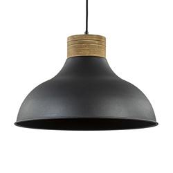Industrieel landelijke hanglamp mat zwart met hout