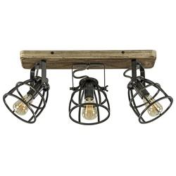 Plafondspot 3-L korf zwart/hout industr.