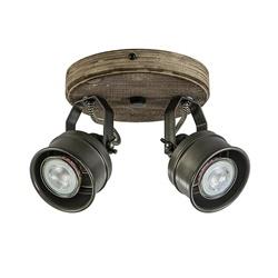 Landelijke 2-lichts opbouwspot zwart metaal met hout