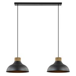 2-Lichts hanglamp zwart met hout industrieel/landelijk