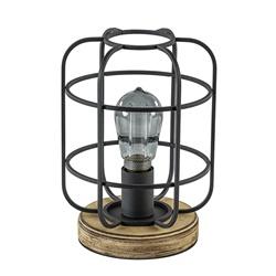 Tafellamp zwart/hout korf industrieel