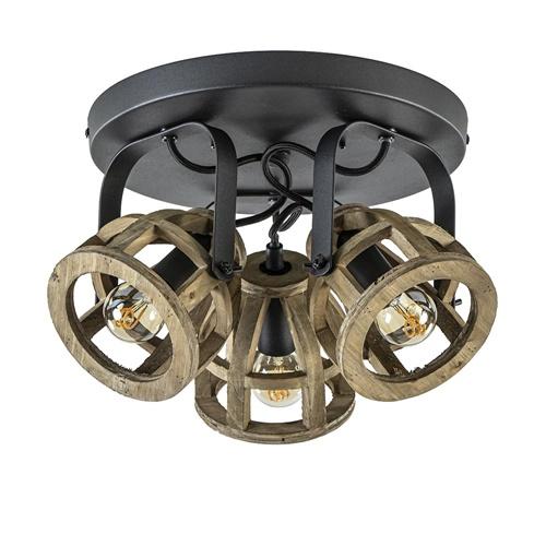 3-lichts plafondlamp landelijk hout/zwart