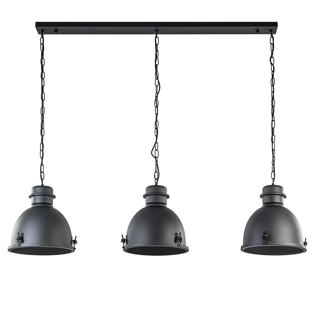 3-Lichts eettafelhanglamp industrieel mat zwart