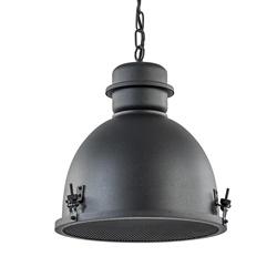 Mat zwarte hanglamp industrieel met grill