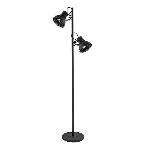 Industriële vloerlamp 2-lichts spot zwart