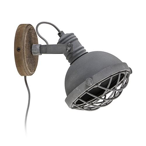 Industriële wandlamp betonlook hout