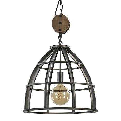 Industriële hanglamp zwart staal met houten katrol