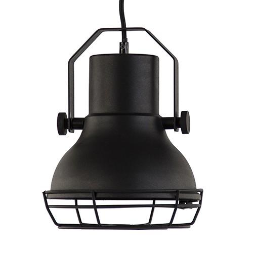 Kleine industriële hanglamp mat zwart