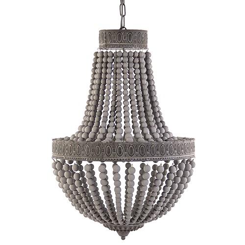 *Houten kralen hanglamp Luna 50 cm grijs