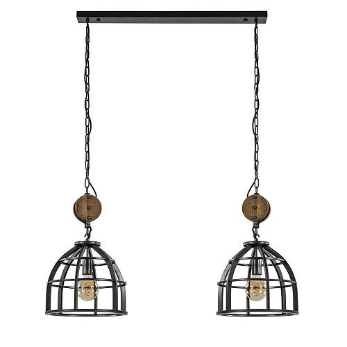 Industriële hanglamp korf 2-lichts metaal
