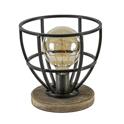 Metalen tafellamp Matrix korf met hout
