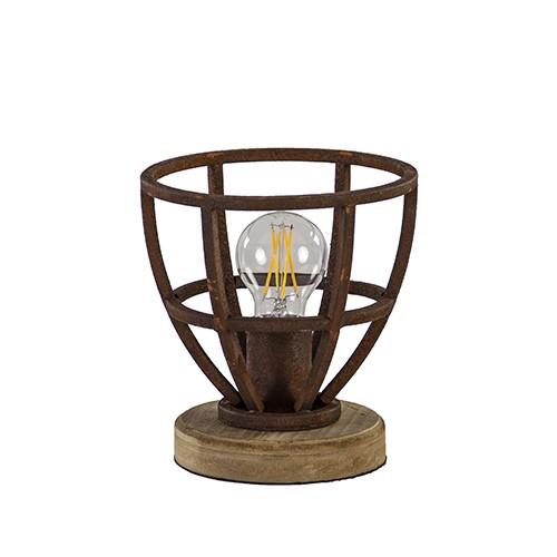 Stoere tafellamp roest met hout