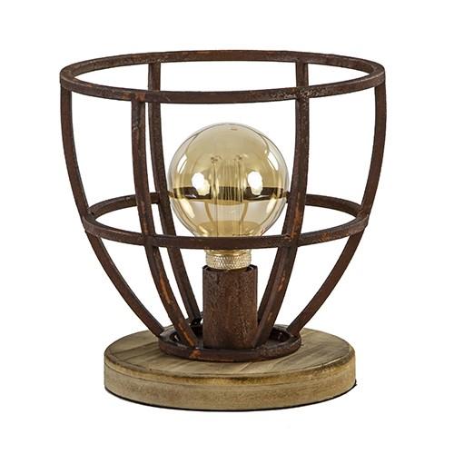 Metalen tafellamp roest met houten voet