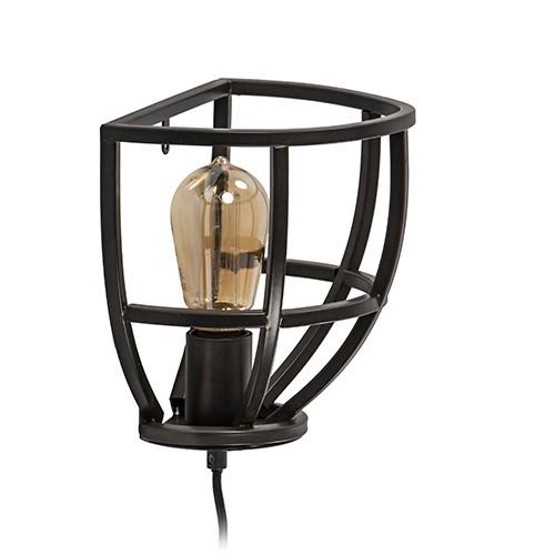 Zwart metalen wandlamp industrieel