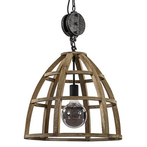 Industrieel landelijke hanglamp houten korf