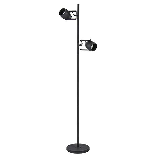 Industriële vloerlamp matzwart 2-lichts