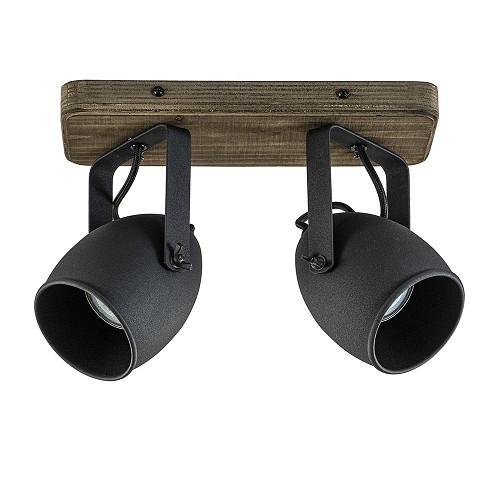 Zwarte 2-lichts plafondspot industrieel met hout