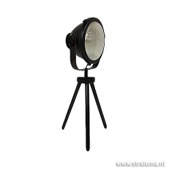 *Driepoot tafellamp zwart industrie spot