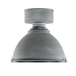 Industriele plafondlamp betonlook glas