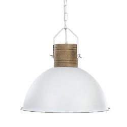 Landelijk witte hanglamp-koepel met hout