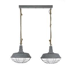 Industriële hanglamp balk 2-L betonlook