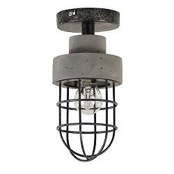 Plafondlamp beton met metalen kooi