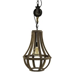 *Houten hanglamp-kroon met katrol