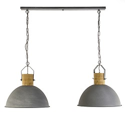 Industriele eettafelhanglamp houten knop